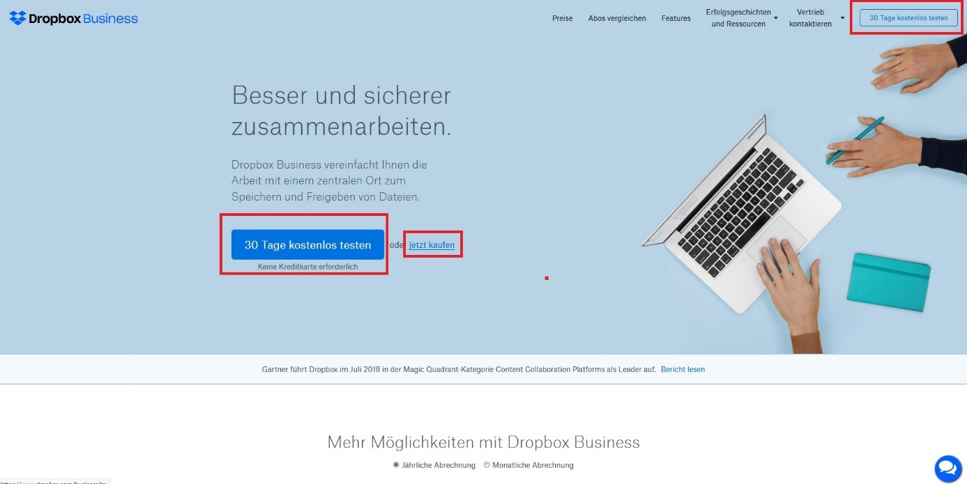 Call to Action Dropbox Beispiel