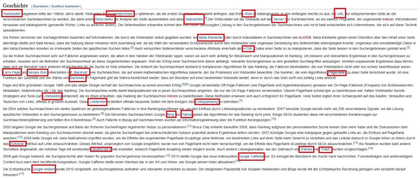 Interne Verlinkung Wikipedia