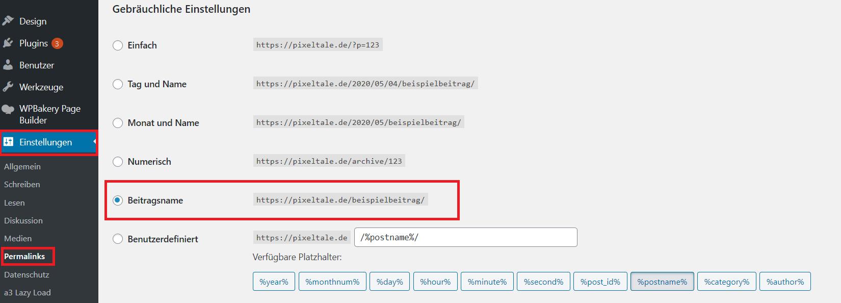 URL Struktur WordPress einstellen