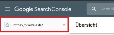 Google Search Console Property auswählen