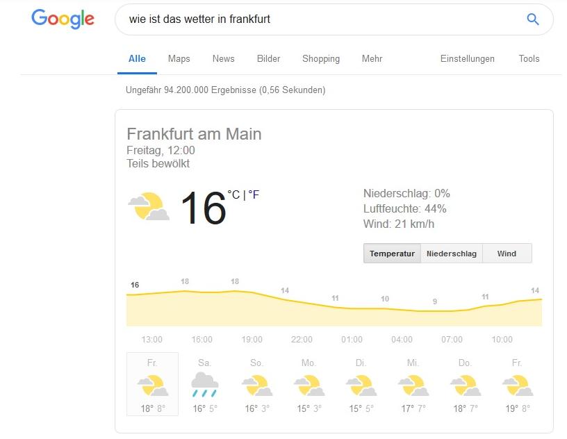 Semantische Suche Wetter Google